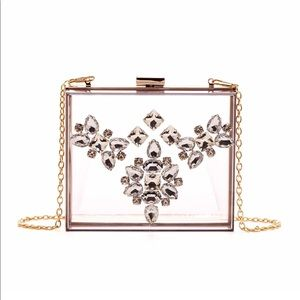 Lucite Bejeweled Crystal Clutch Shoulder bag